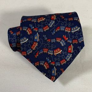 Salvatore Ferragamo Whimsical Train Print Silk Tie